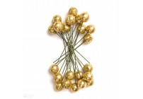 Owoce ostrokrzewu 1,2 cm - srebrne brokat, 24 szt.