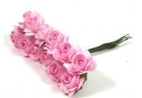Papierowe róże 1,5cm/12 szt. -białe